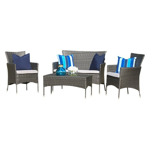 Malta Outdoor 4pc Wicker Chat Set with Cushions - Christopher Knight Home