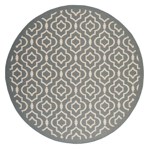 Avril Round 7 10 Quot Patio Rug Anthracite Beige