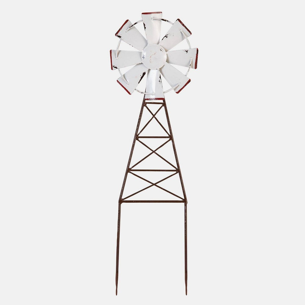 20 Enamel Windmill Garden Metal Stake White - Foreside Home & Garden Turn your garden into a beautiful farm with the Enamel Windmill Garden Stake by Foreside Home and Garden. Watch gentle breezes flow on by as this metal stake gives your yard a rustic, calming atmosphere. Color: White.