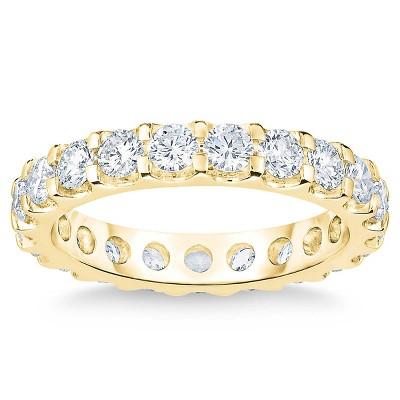 Pompeii3 2 Ct Moissanite Eternity Ring Womens Wedding Band 14k Yellow Gold