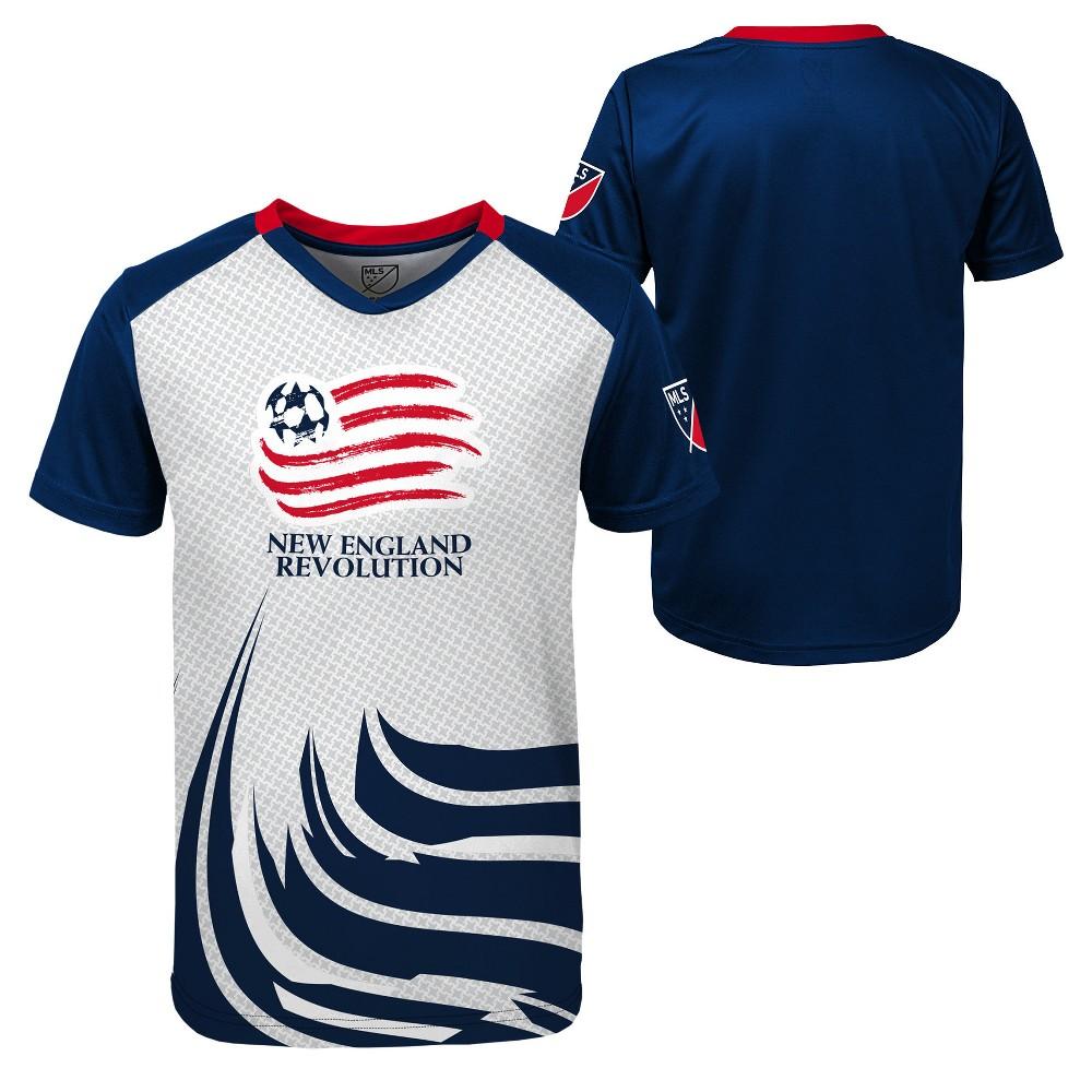 Boys' Short Sleeve Game Winner Sublimated Performance T-Shirt New England Revolution M, Multicolored
