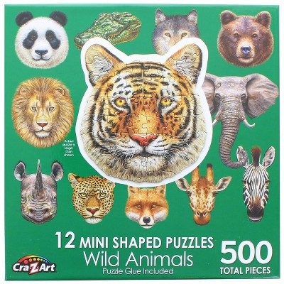 Cra-Z-Art Wild Animals   12 Mini Shaped Jigsaw Puzzles   500 Color Coded Pieces