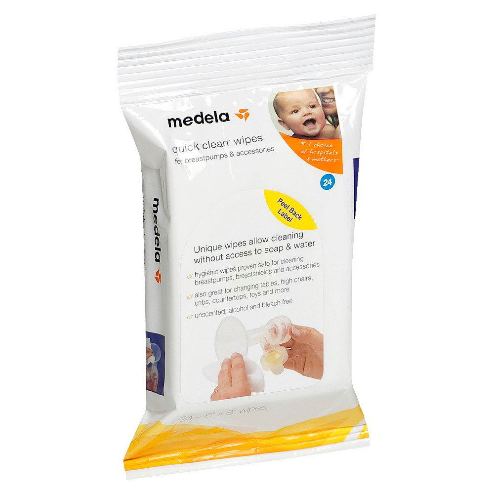 Image of Medela Quick Clean Breast Pump & Accessory Wipes - 24ct, White