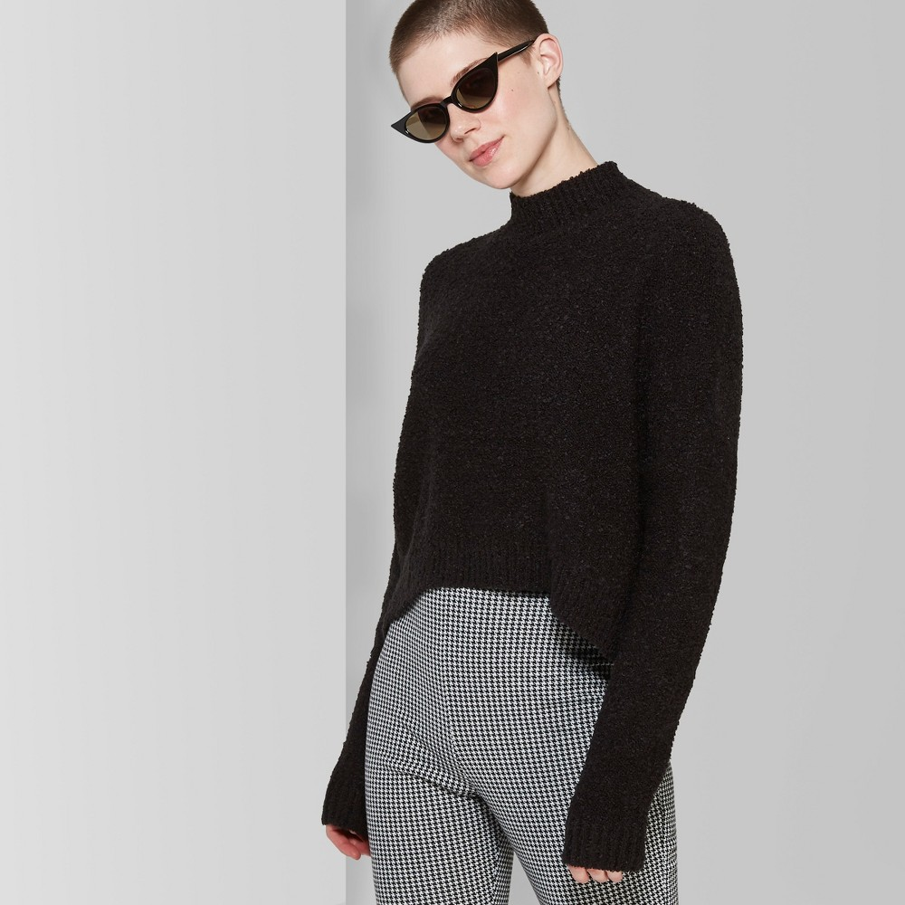 Women's Oversized Boucle Cropped Mock Neck Pullover - Wild Fable Jet Black S