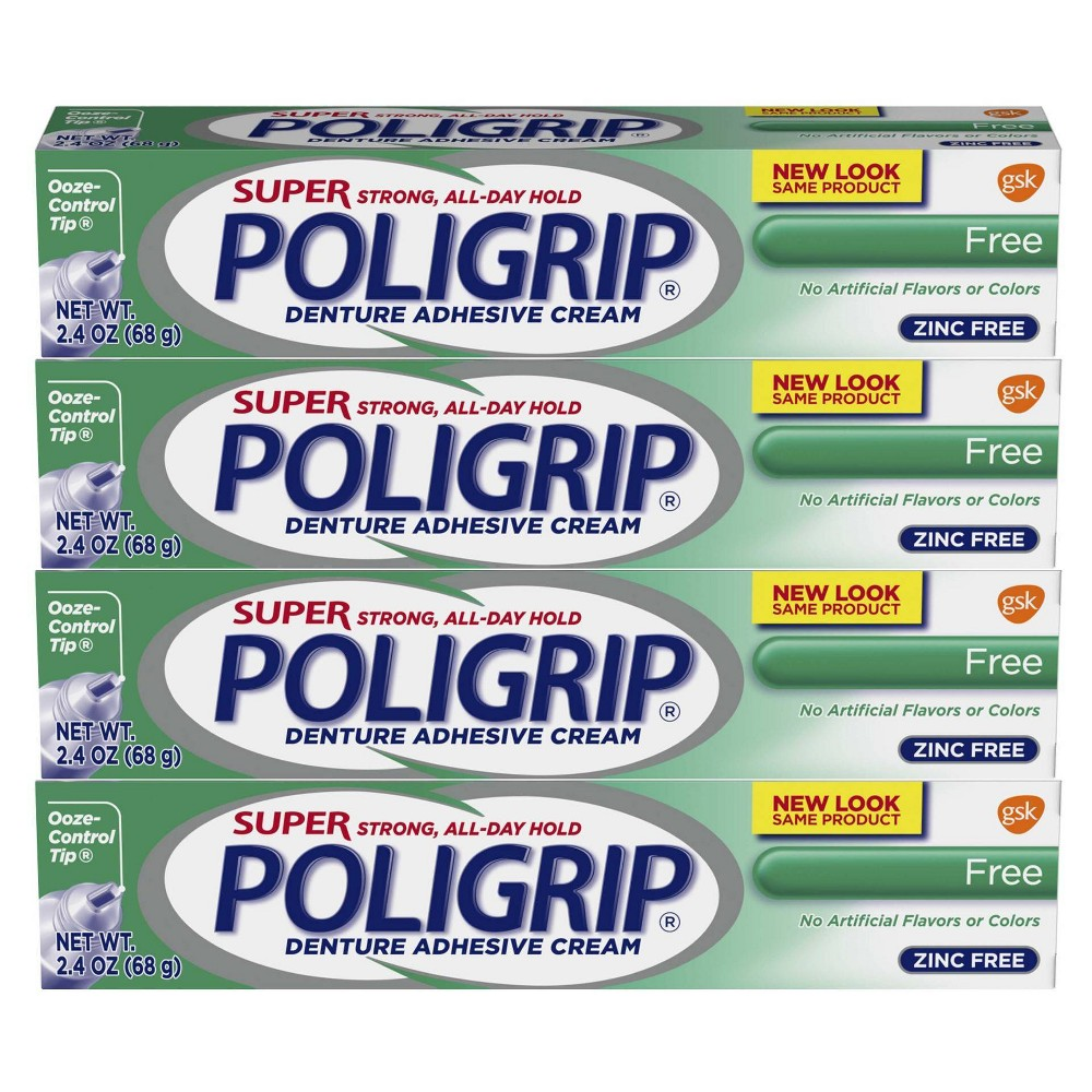 Image of Poligrip Super Strong All-Day Hold Denture Adhesive Cream - 2.4oz/4pk