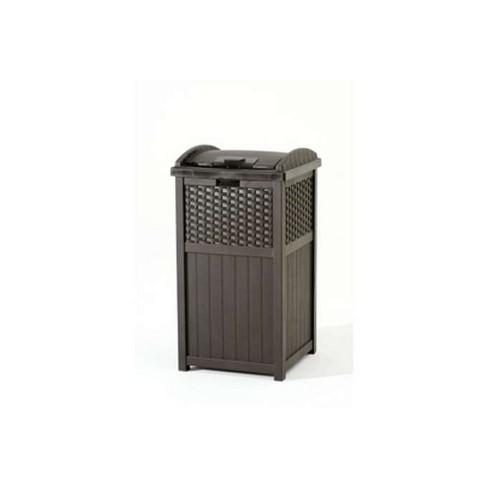 Suncast Ghw1732 Home Outdoor Patio Resin Wicker Trash Can Hideaway