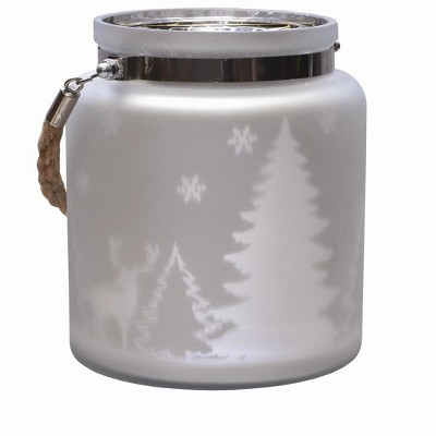 "Northlight 6"" Winter Scene Christmas Pillar Candle Holder Lantern with Handle - Silver"