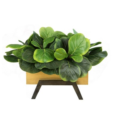 "18"" x 21"" Artificial Fig Garden Arrangement in Wooden Box Planter - LCG Florals"