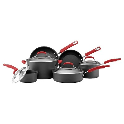 Rachael Ray Hard Anodized Nonstick 10 Piece Cookware Set - Red Handles