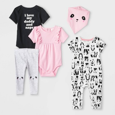 Baby Girls'  Daddy and Naps  Bodysuit, Ruffle Bodysuit, Dolman Romper, Bib and Leggings Set - Cat & Jack™ Pink/Gray/Black 18M