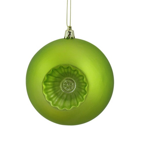 "Northlight 6ct Matte Retro Reflector Shatterproof Christmas Ball Ornament Set 4"" - Green - image 1 of 2"
