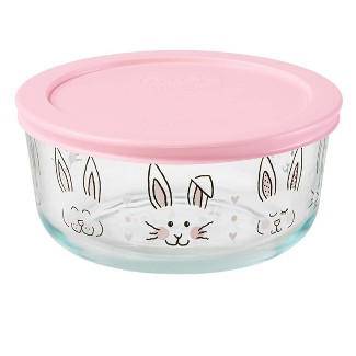 Pyrex 4 Cup Glass Hippity Hoppity Food Storage Container Pink