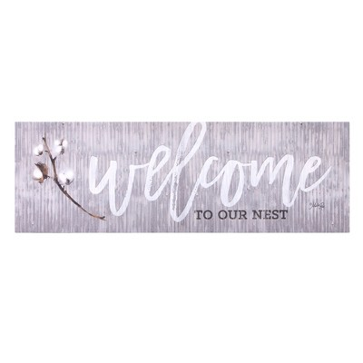 12 x36  Welcome To Our Nest Canvas Art Gray - Patton Wall Decor