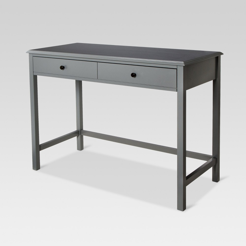 Windham Wood Writing Desk with Drawers Gray - Threshold Coupons