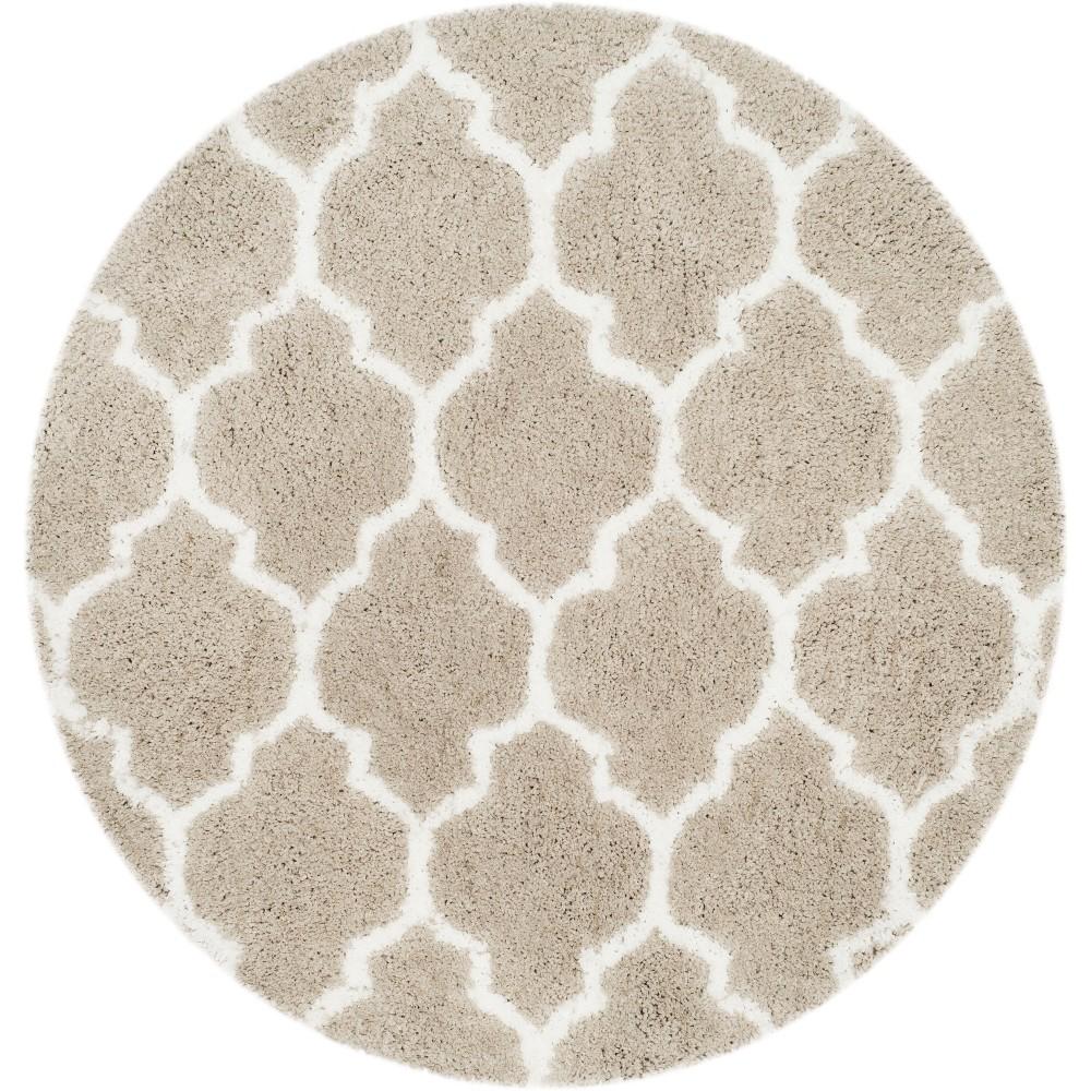 5' Quatrefoil Design Tufted Round Area Rug Silver/Ivory - Safavieh