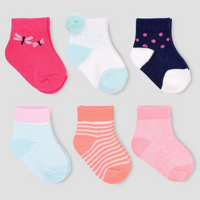 Baby Girls' 6pk Stripe Crew Socks - Just One You® made by carter's 0-3M