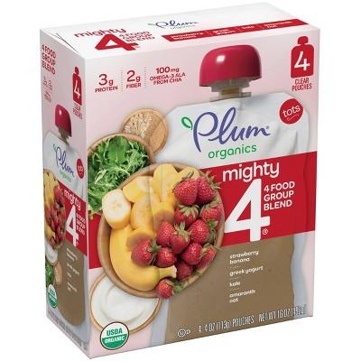 Plum Organics Mighty 4 Strawberry Banana Greek Yogurt Kale Amaranth & Oat Baby Food Pouch - (Select Count)