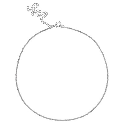 "Women's Sparkle Chain Choker Necklace With 4 Inch Extender In Sterling Silver  Gray (12""+4"") by Target"