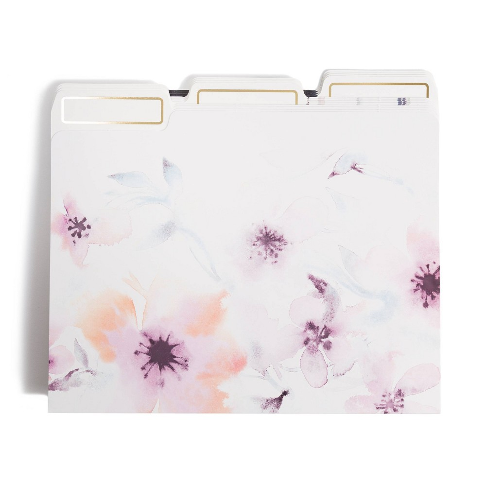 Image of 12ct Watercolor Purple Flower File Folders - UBrands