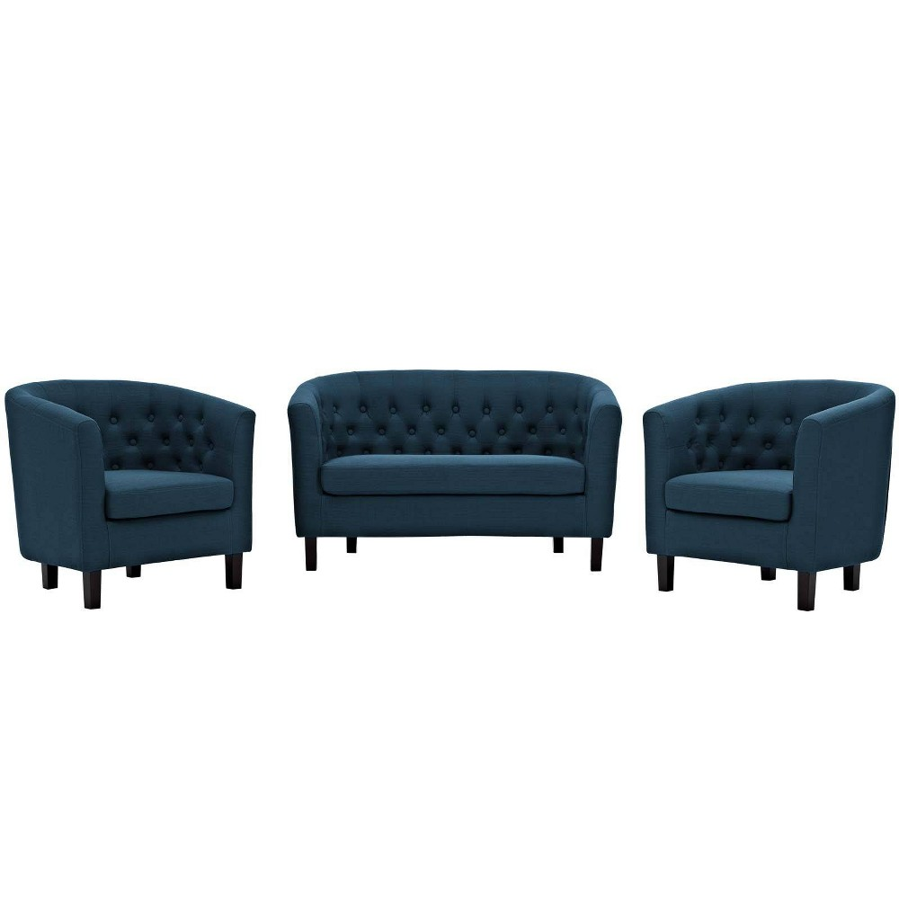 Image of 3pc Prospect Upholstered Fabric Loveseat & Armchair Set Azure - Modway, Blue