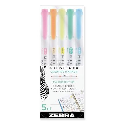 Zebra Mildliner Double Ended Highlighter Chisel/Bullet Tip Assorted Colors 78105