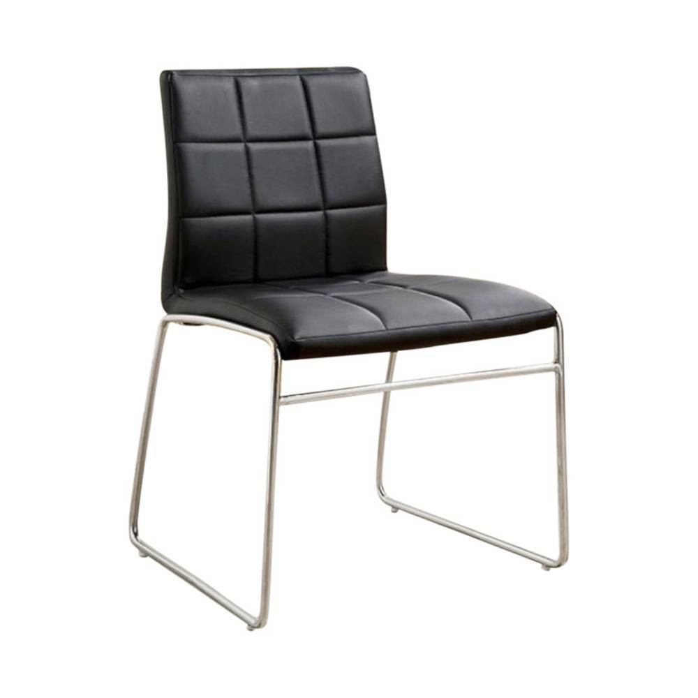 Set Of 2 Contemporary Side Chairs With Steel Tube Black Benzara