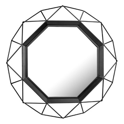 "28.3"" x 28.3"" Metal Octagon Decorative Wall Mirror Black - Stonebriar Collection"