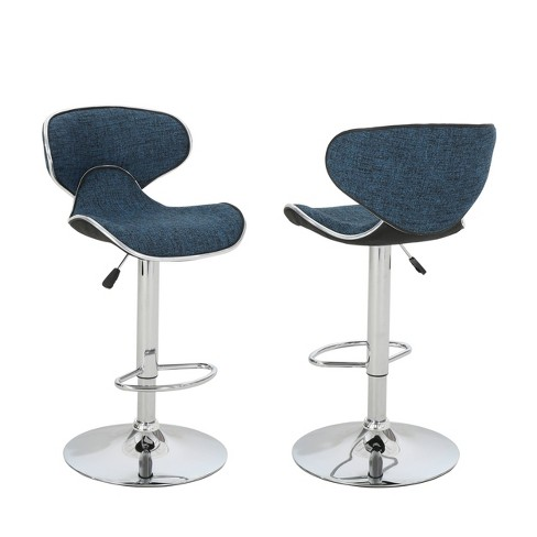 Miraculous Carlota Set Of 2 Modern Adjustable Swivel Barstool Indigo Weave Tweed Christopher Knight Home Machost Co Dining Chair Design Ideas Machostcouk
