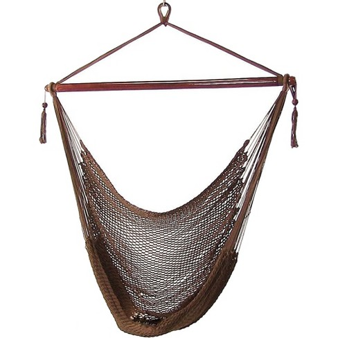 Mocha Caribbean Hanging Rope Hammock Chair Brown Sunnydaze Decor
