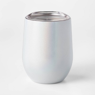 12oz Stainless Steel Stemless Wine Glass with Lid White - Sun Squad™
