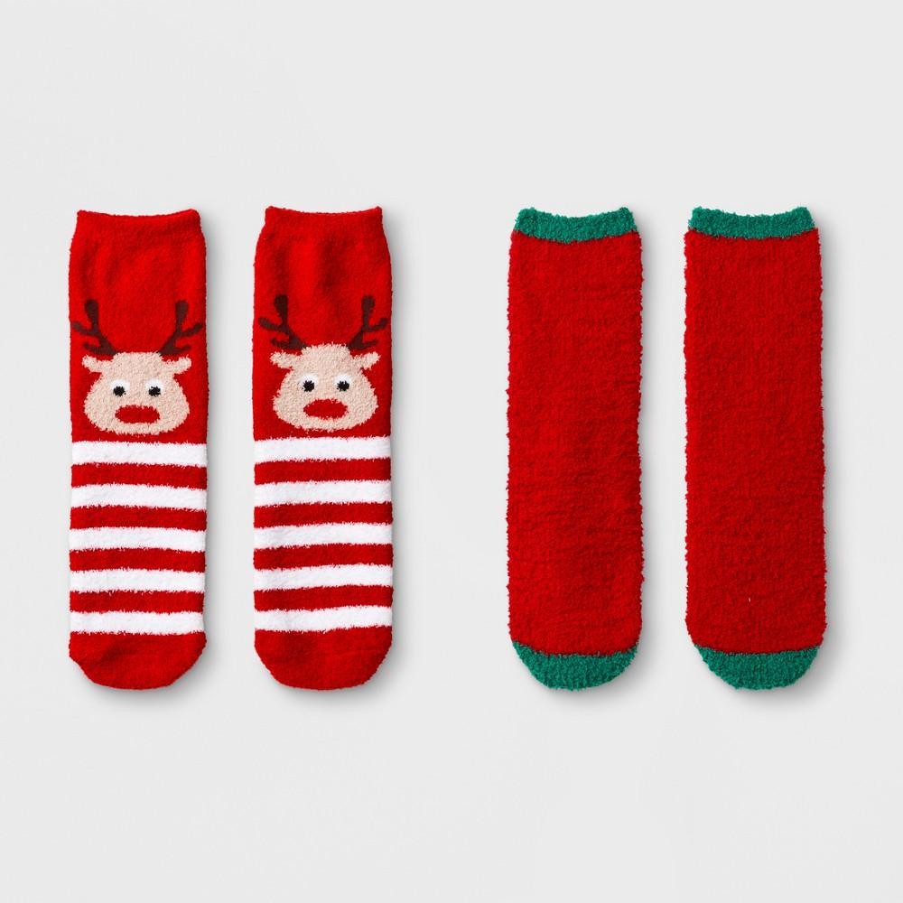 Girls' 2pk Reindeer Soapy Cozy Socks - Cat & Jack Red S