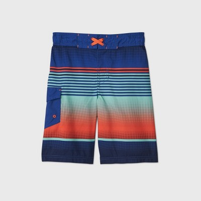 Boys' Ombre Striped Swim Trunks - Cat & Jack™ Navy/Orange