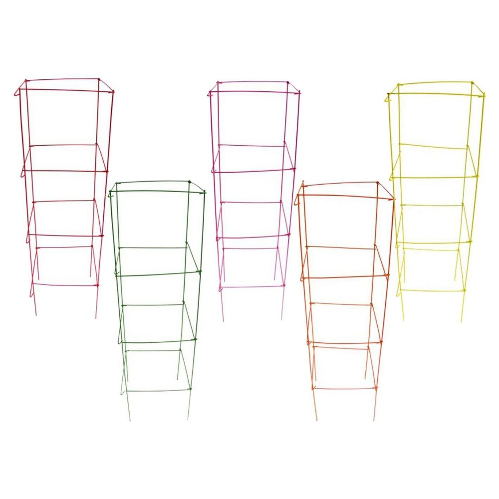 """Image of """"16"""""""" x 42"""""""" Heavy Duty Stackable Square Plant Support 10 Pack - Bright Color Combo - Glamos Wire"""""""