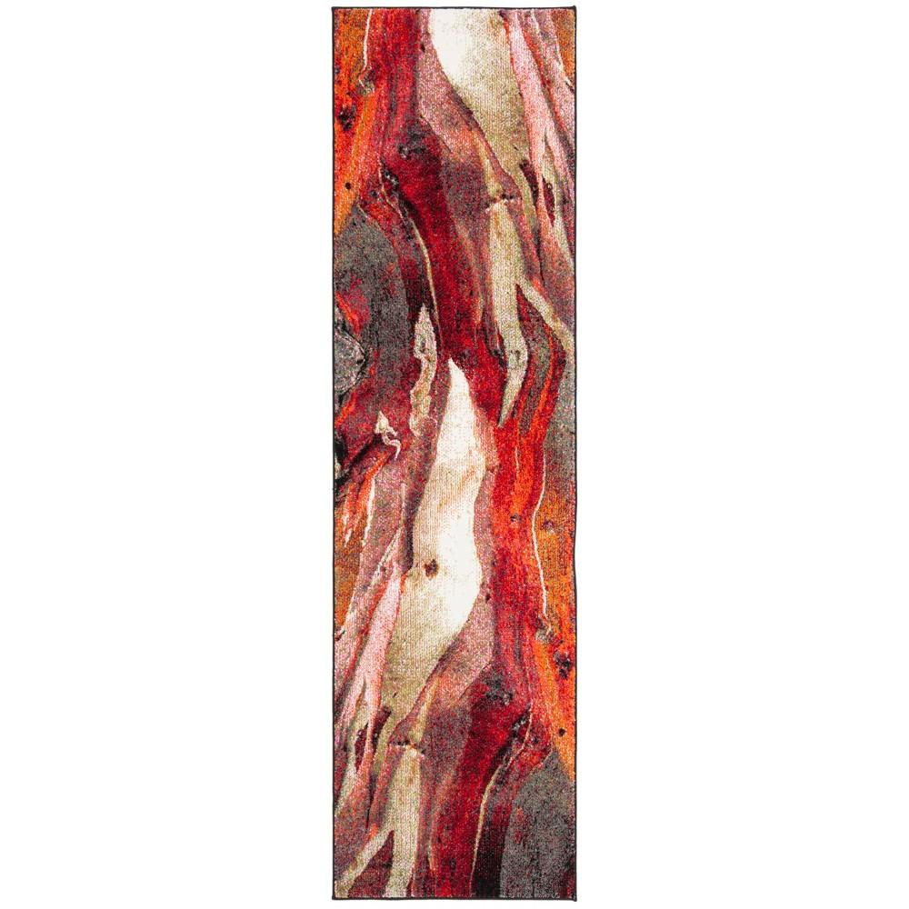 Loomed Tie Dye Design Runner Rug Red
