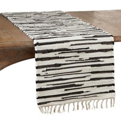 """72"""" x 16"""" Cotton Zebra Chindi Table Runner Black/White - Saro Lifestyle"""