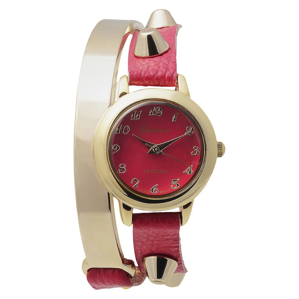 Women's Geneva Platinum Stud Accent Simulated Leather and Metal Wrap Watch - Pink