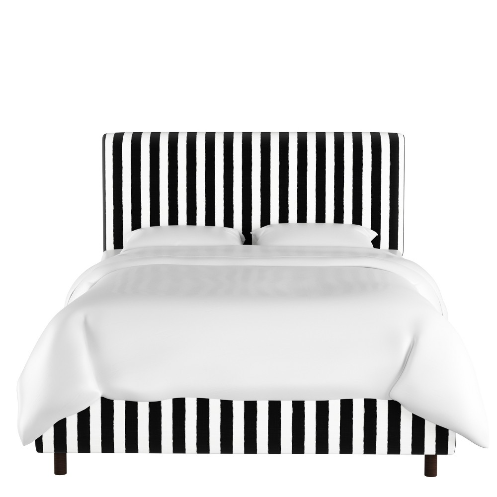 California King Olivia Upholstered Bed Black/White Stripe - Cloth & Co.