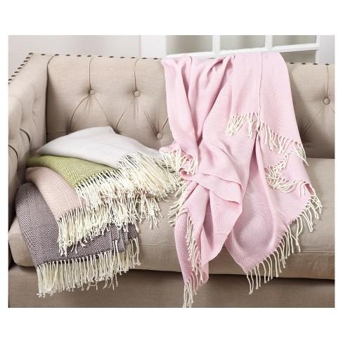 3037de1dc8 Pink Herringbone Pattern Tassel Fringe Throw Blankets (50