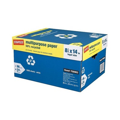 """Staples 50% Recycled 8.5"""" x 14"""" Paper 24 lbs. 96 Brightness 500/RM 10 RM/CT 86054"""