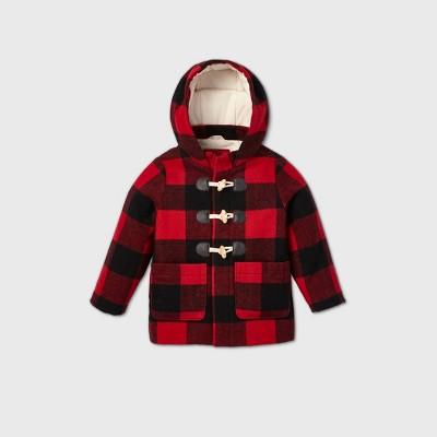 Toddler Boys' Plaid Faux Wool Coat - Cat & Jack™ Red/Black 4T