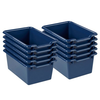 ECR4Kids Storage Bins With Scoop Front   Cubby Compatible   10 Pack Navy  Blue