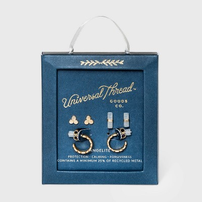 Angelite with Recycled Metal Stud and Hoop Earring Set 3pc - Universal Thread™ Ice Blue