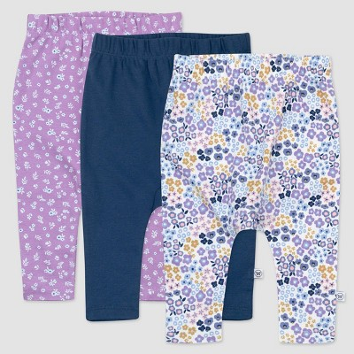 Honest Baby Girls' 3pk Organic Prairie Pretty Cotton Cuff-less Harem Pull-On Pants - Purple/Navy/White 3-6M
