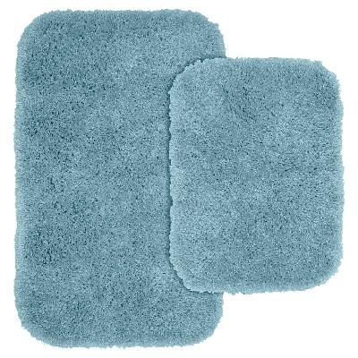 Garland 2 Piece Serendipity Shaggy Washable Nylon Bath Rug Set - Basin Blue