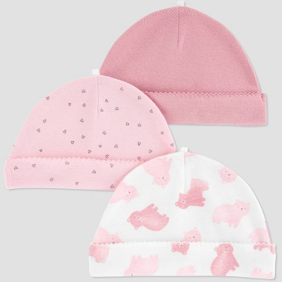 Baby Girls' 3pk Cap - Just One You® made by carter's Pink One Size