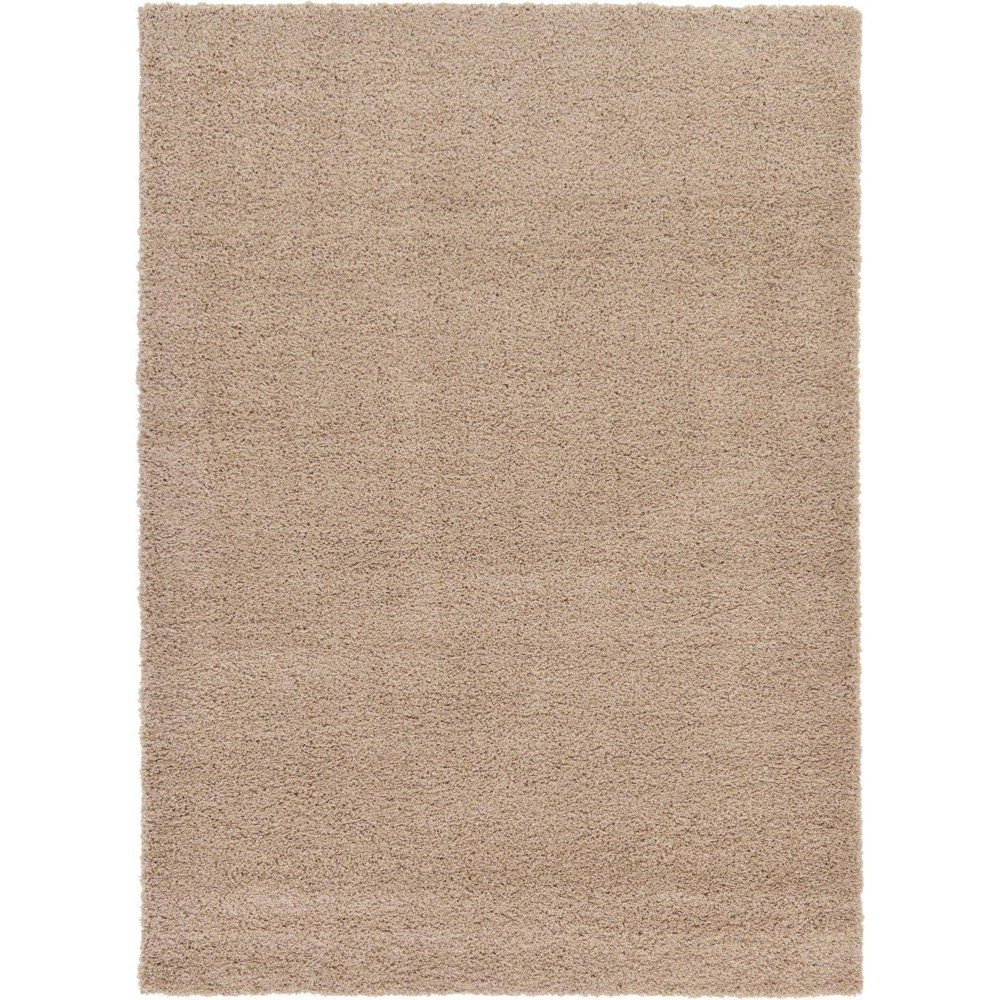 7 39 X10 39 Solid Shag Rug Taupe Unique Loom