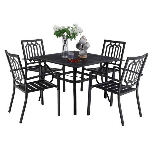 5pc Metal Indoor Outdoor 37 Square, 5 Piece Wicker Patio Dining Set With Umbrella Hole