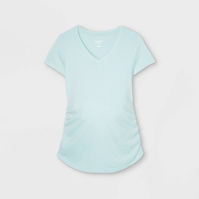 Maternity Short Sleeve V-Neck Side Shirred T-Shirt - Isabel Maternity by Ingrid & Isabel™