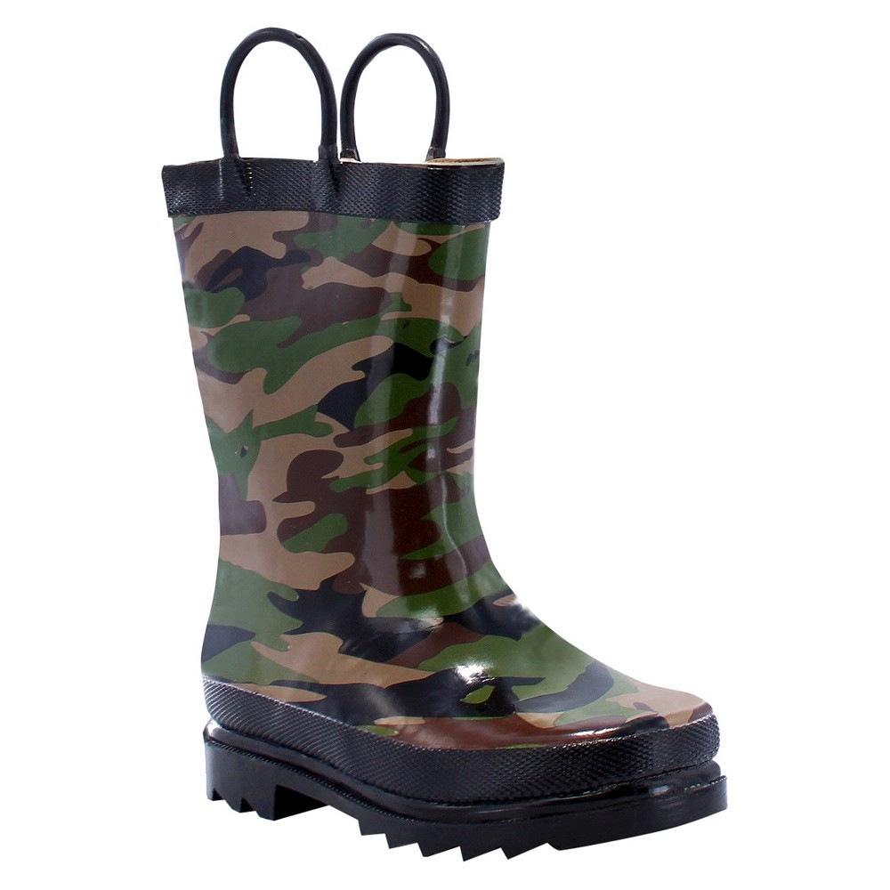 Western Chief Toddler Boys' Camo Rain Boots - Green 9