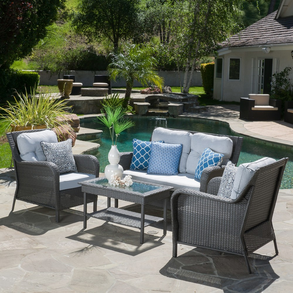 Savona 4pc Wicker Concersation Set - Gray with Silver Gray Cushions - Christopher Knight Home
